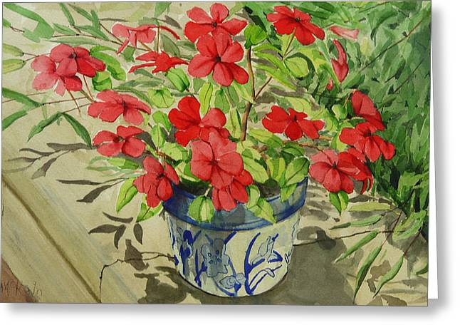 Concrete Planter Greeting Cards - Impatiens Greeting Card by Mark McKain