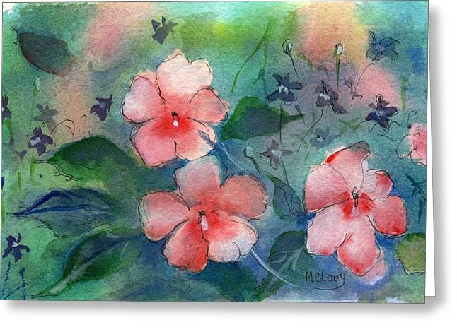 Impatiens Flowers Greeting Cards - Impatiens Greeting Card by MaryAnn Cleary