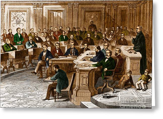 Trial Greeting Cards - Impeachment Vote Greeting Card by Photo Researchers