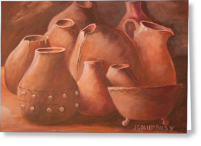 Best Sellers -  - Pottery Pitcher Greeting Cards - Imperfect Indian Pottery Greeting Card by Janna Columbus