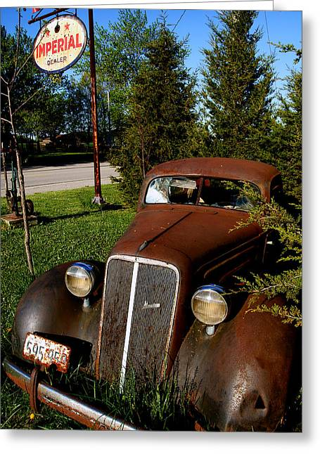 Rusted Cars Photographs Greeting Cards - Imperial Dealer Greeting Card by Cale Best