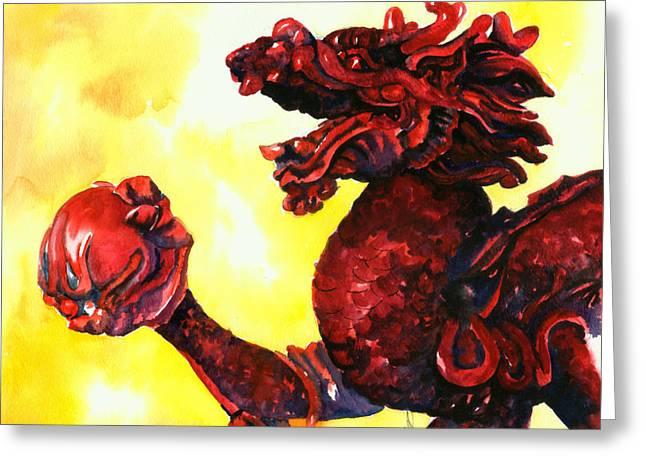 Asian Art Greeting Cards - Imperial Dragon Greeting Card by Christy  Freeman