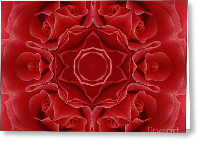 Daughter Gift Greeting Cards - Imperial Red Rose Mandala Greeting Card by Georgiana Romanovna