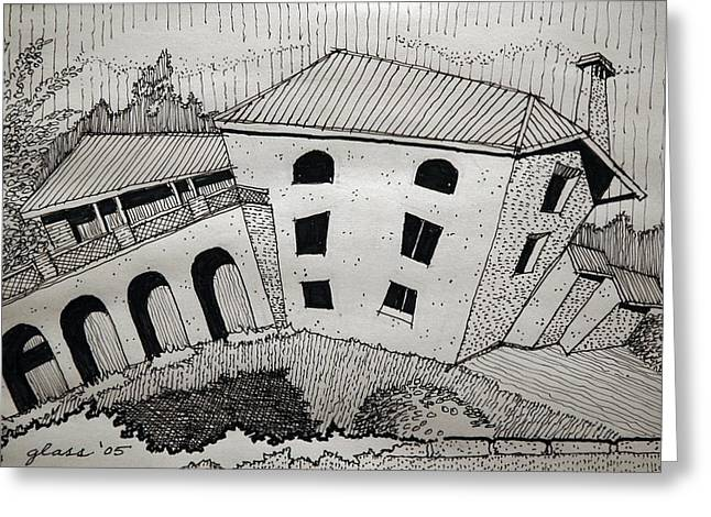 Abandoned Houses Drawings Greeting Cards - Impression Abandoned House Portugal Greeting Card by Lester Glass