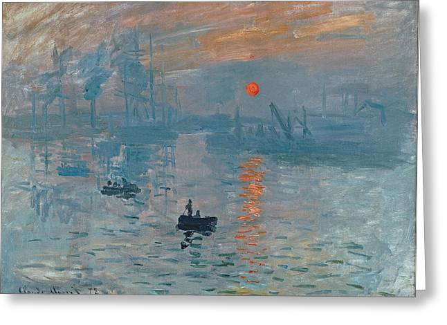 Masterpiece Paintings Greeting Cards - Impression Sunrise Greeting Card by Claude Monet