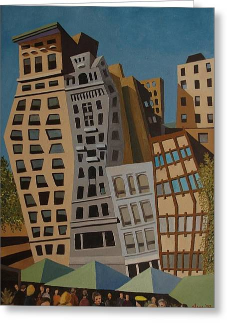 Union Square Paintings Greeting Cards - Impression Union Square West NYC Greeting Card by Lester Glass