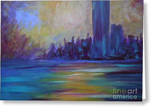 Light Sculptures Greeting Cards - Impressionism-city And Sea Greeting Card by Soho
