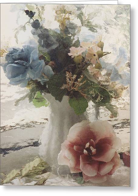 Pink Flower Prints Greeting Cards - Vintage Floral Impressionistic Blue and Pink Floral Vase  Greeting Card by Kathy Fornal