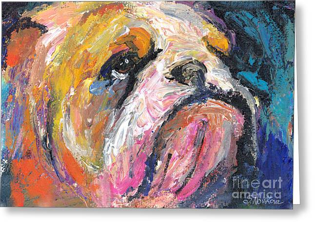 Dog Photo Greeting Cards - Impressionistic Bulldog painting Greeting Card by Svetlana Novikova
