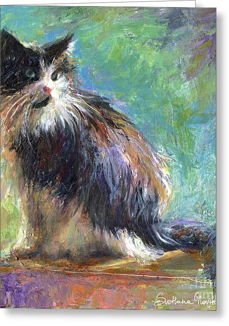 For Sale Drawings Greeting Cards - Impressionistic Tuxedo Cat portrait Greeting Card by Svetlana Novikova