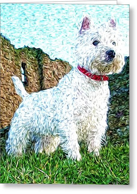 Westie Digital Art Greeting Cards - Impressionistic Westie Greeting Card by Laura Brightwood