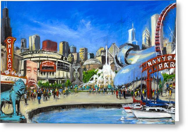 Des Moines Greeting Cards - Impressions of Chicago Greeting Card by Robert Reeves