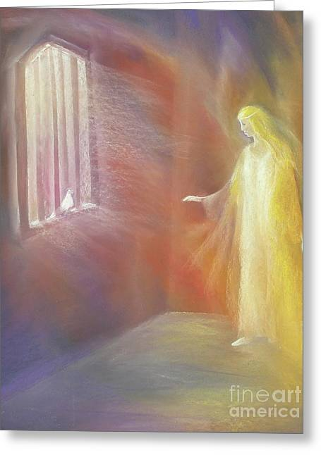 Dove Pastels Greeting Cards - Imprisoned Soul Seeking Spirit Greeting Card by Iris Sullivan
