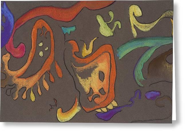 Improvisation Pastels Greeting Cards - Improv Greeting Card by Vianne Korhorn
