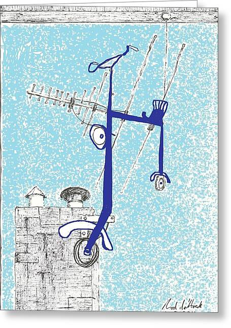 Outlook Drawings Greeting Cards - Improve your view Greeting Card by Rod De Hoedt