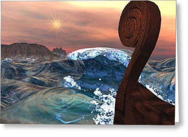 Wood Carving Digital Art Greeting Cards - Imram Greeting Card by Diana Morningstar