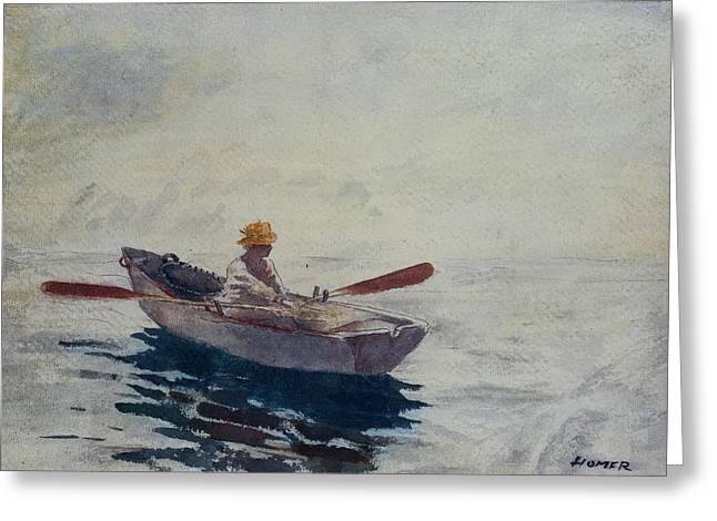 Rowers Paintings Greeting Cards - In a Boat Greeting Card by Winslow Homer