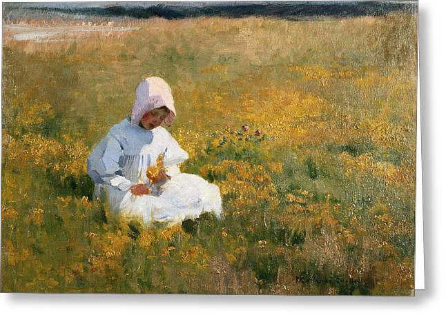 Bonnet Greeting Cards - In a Field of Buttercups Greeting Card by Marianne Stokes