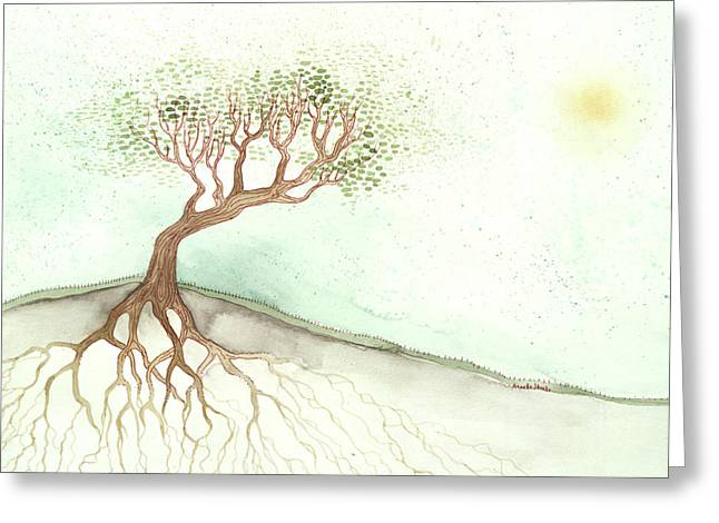Tree Roots Paintings Greeting Cards - In a Hill Greeting Card by Annette Janelle Provenzo