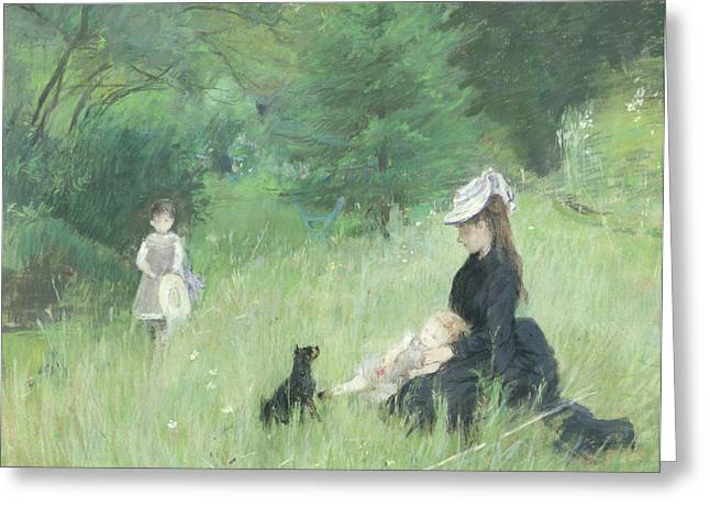 Doggy Greeting Cards - In a Park Greeting Card by Berthe Morisot