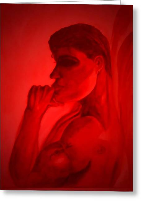Marian Hebert Greeting Cards - In a Red Mood Greeting Card by Marian Hebert