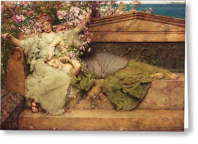 Playful Greeting Cards - In a Rose Garden Greeting Card by Sir Lawrence Alma-Tadema