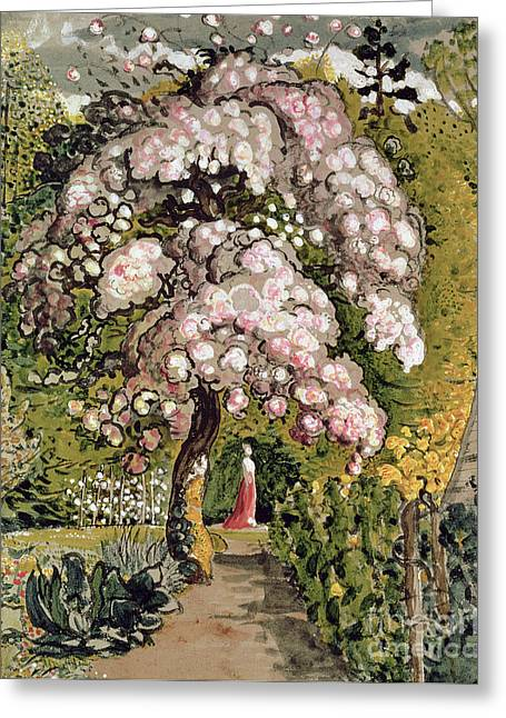Cherry Blossoms Paintings Greeting Cards - In a Shoreham Garden Greeting Card by Samuel Palmer