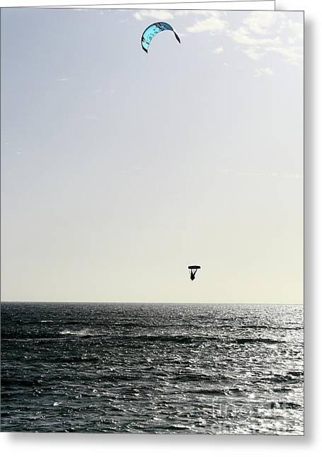 Best Sellers -  - Kite Boarding Greeting Cards - In Air Greeting Card by Caroline Walker
