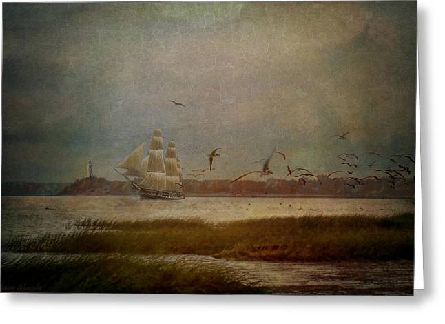 Tall Ships Greeting Cards - In Another Lifetime Greeting Card by Lianne Schneider