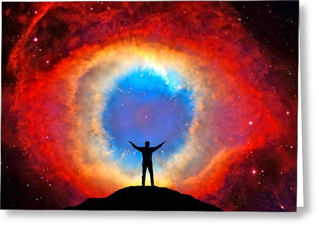 Super Stars Greeting Cards - In Awe of the Helix Nebula Greeting Card by Larry Landolfi