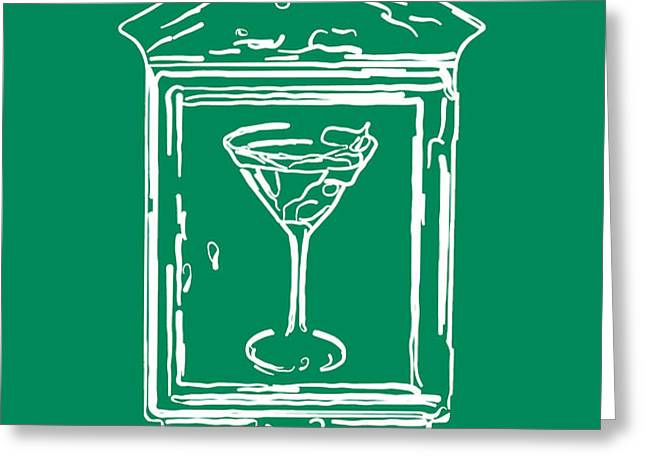 In Case Of Emergency - Drink Martini - Green Greeting Card by Wingsdomain Art and Photography