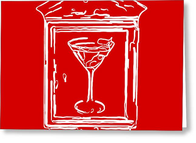 In Case Of Emergency - Drink Martini - Red Greeting Card by Wingsdomain Art and Photography