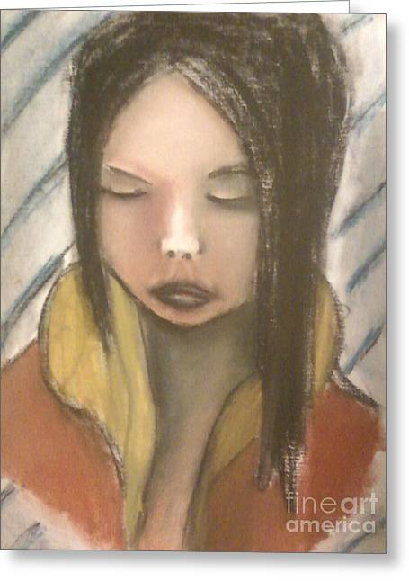 Person Pastels Greeting Cards - In Deep Thought Greeting Card by Dustin Spaulding