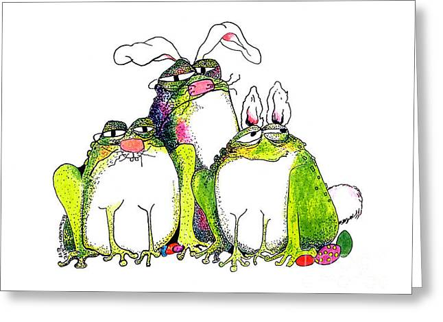 Amphibian Mixed Media Greeting Cards - In Disguise Greeting Card by Pat Saunders-White
