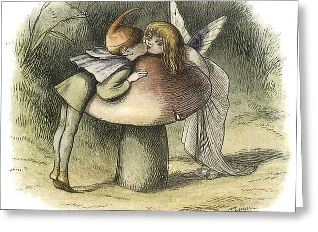 A Kiss Greeting Cards - In Fairyland A Fairy Kiss Greeting Card by Richard Doyle