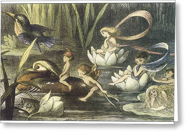 In Fairyland Fairies and Waterlilies Greeting Card by Richard Doyle