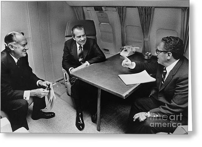 U.s.a. President Greeting Cards - In Flight Discussion, President Nixon & Greeting Card by Photo Researchers