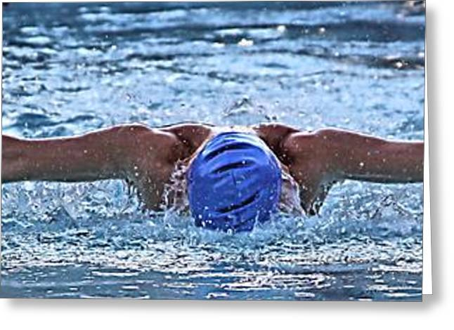 Swimmers Greeting Cards - In Flight Greeting Card by Kenneth Mucke