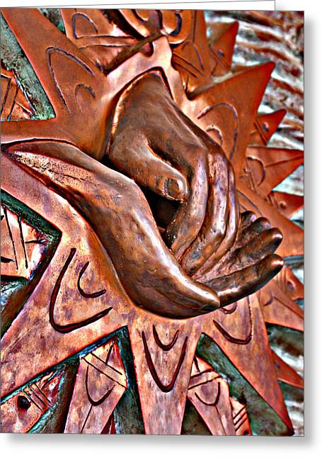Metal Art Greeting Cards - In Good Hands Greeting Card by Greg Sharpe