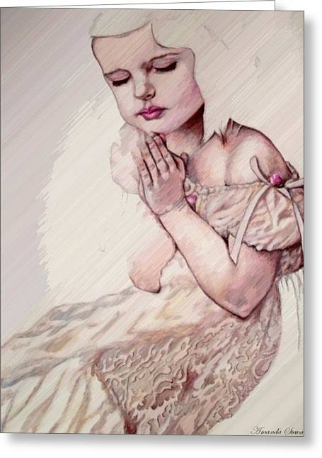 Calvary Greeting Cards - In Her Heart Greeting Card by Amanda  Stewart
