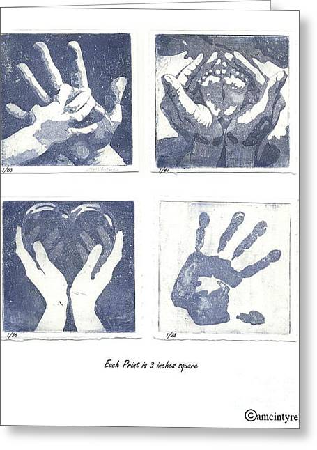 In His Hands Greeting Card by Amanda McIntyre