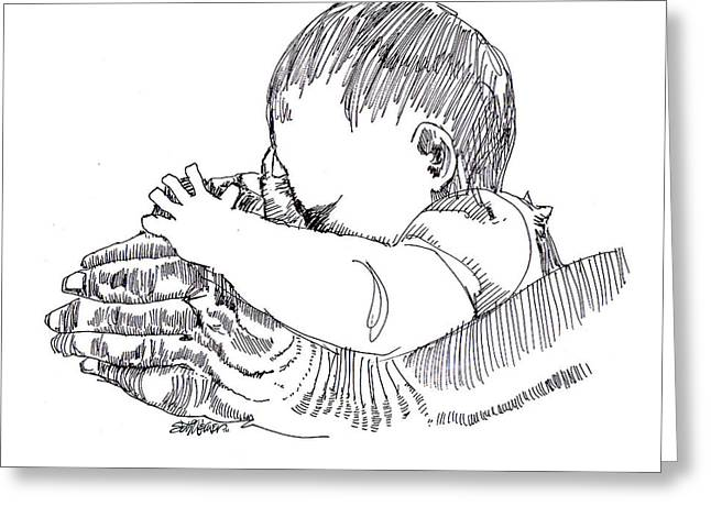 Pen And Ink Drawing Greeting Cards - In His Hands Greeting Card by Seth Weaver
