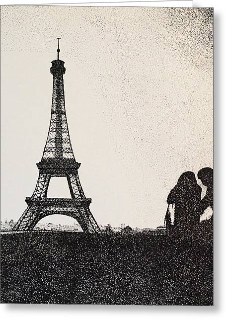 Eifel-tower Greeting Cards - In Love In Paris Greeting Card by Saundra Smoker