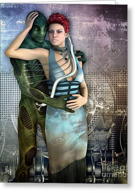 Art With Love Greeting Cards - In Love with an Alien Greeting Card by Jutta Maria Pusl
