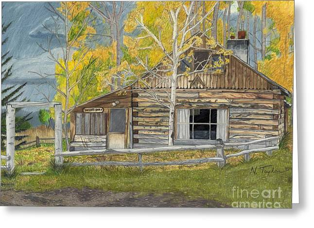 Old Cabins Drawings Greeting Cards - In Memory of Bar A Greeting Card by Nichole Taylor