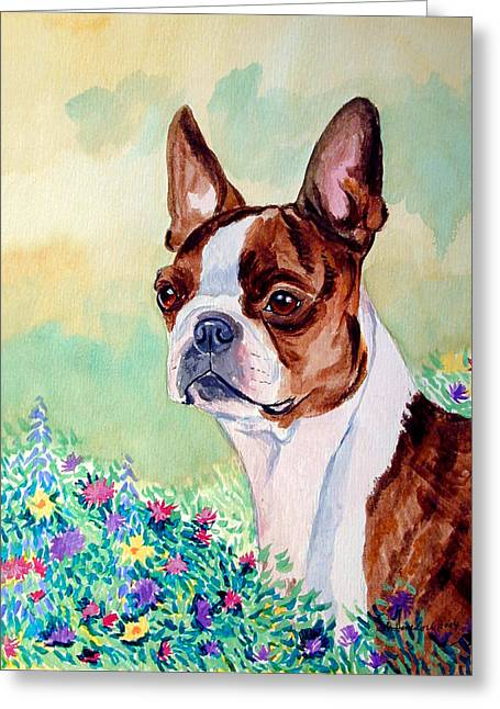 Boston Terrier Greeting Cards - In Moms Flowers - Boston Terrier Greeting Card by Lyn Cook