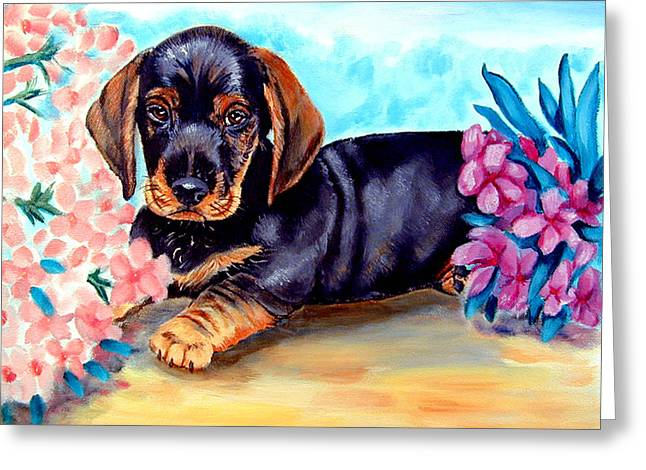 Doxie Greeting Cards - In Moms Flowers - Dachshund Greeting Card by Lyn Cook