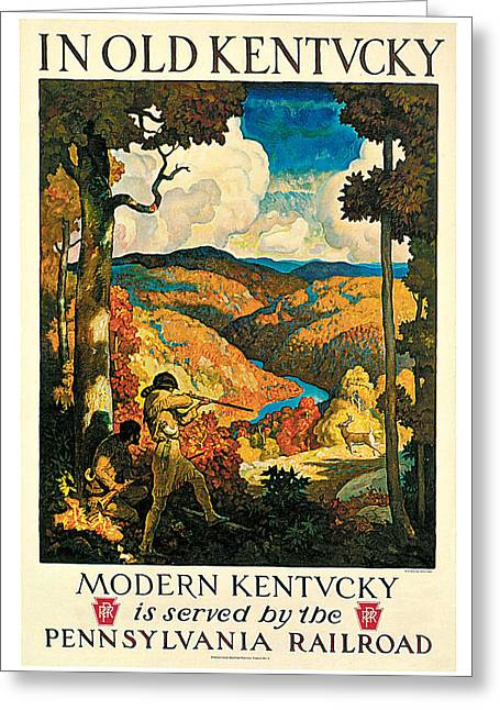 N.c. Greeting Cards - In Old Kentucky Pennsylvania Railroad Greeting Card by N C Wyeth