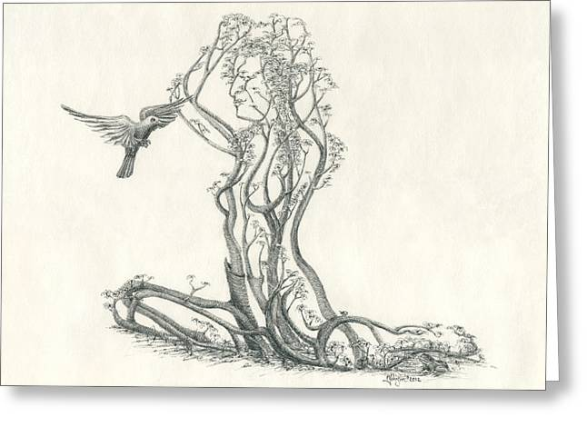 Gaia Drawings Greeting Cards - In Passing Greeting Card by Mark Johnson