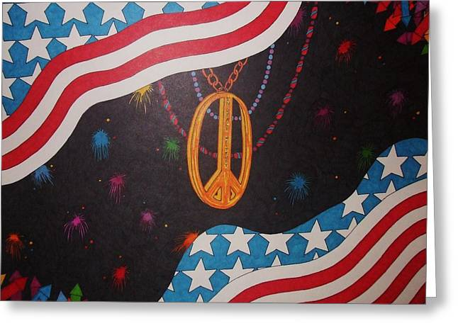 Fireworks Drawings Greeting Cards - In Peace We Trust Greeting Card by Steve Boisvert